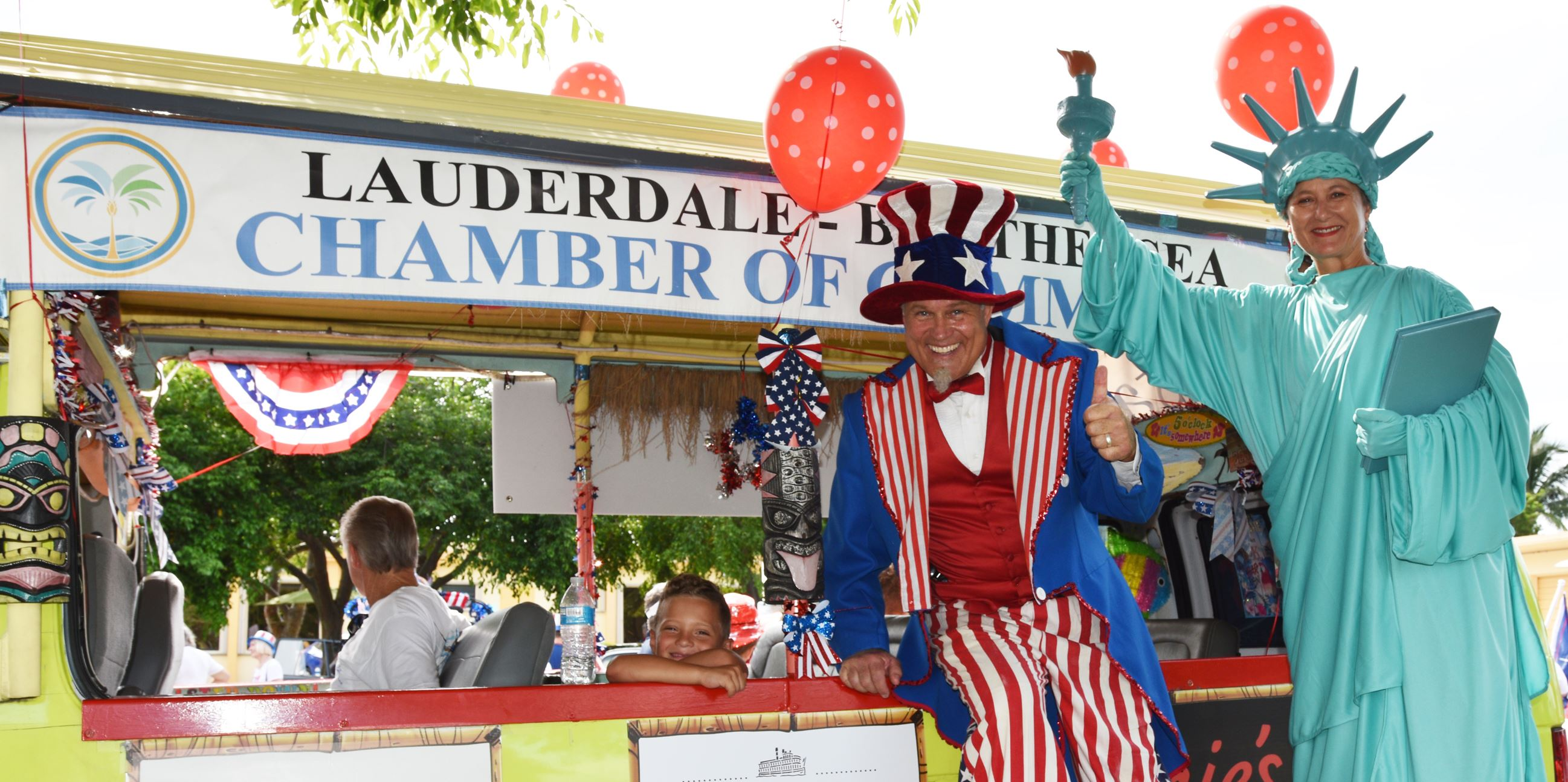 Uncle Sam and Lady Liberty With Chamber Trolley