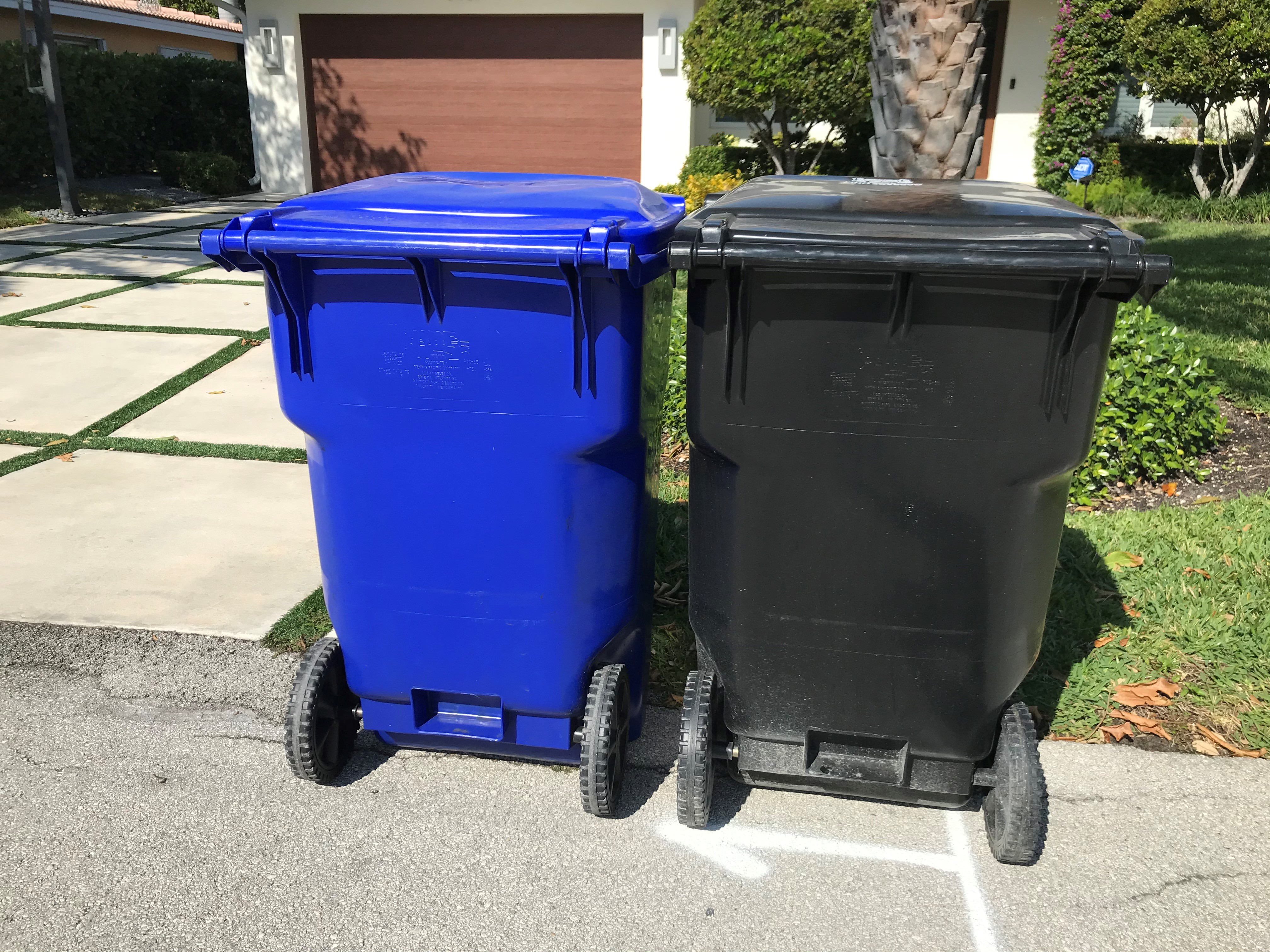 Image of Blue Cart And Black Cart Adjacent To Each Other