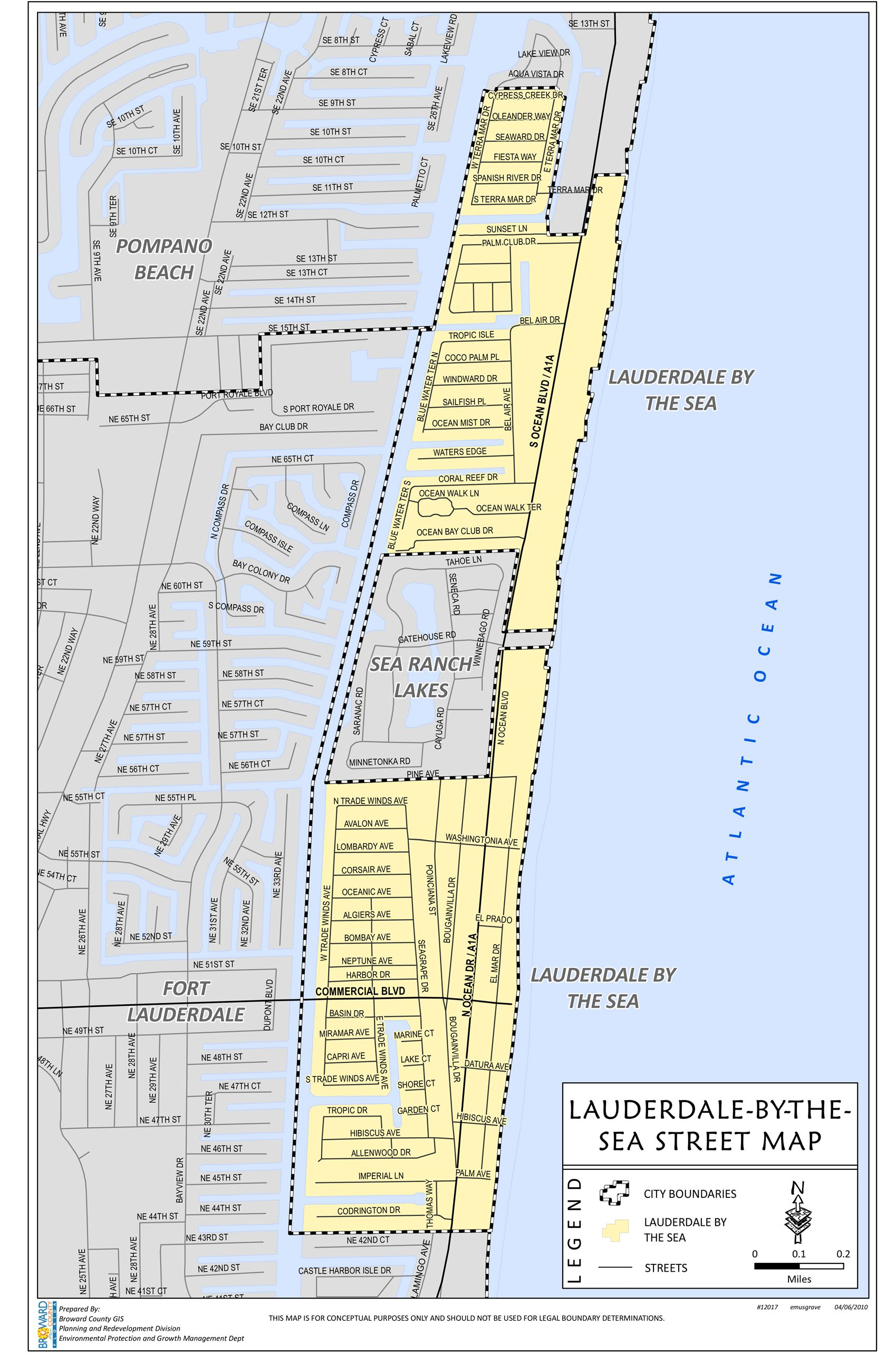 Lauderdale-By-The-Sea Town Map